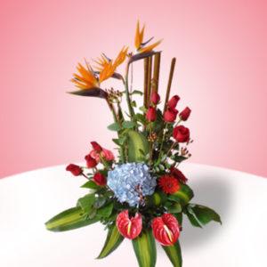 bonito arreglo de aves  anturius gerberas y rosas 850 pesos