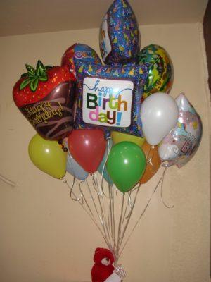 bouquet de globos con osito 500  pesos