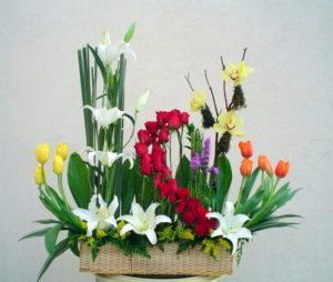hermosa jardinera de rosas tulipanes casablancas tulipanes 1200 pesos