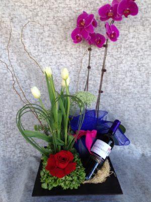 arreglo tulipan y rosa