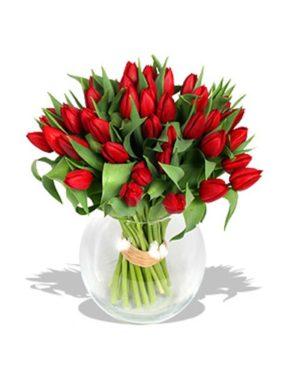 florero de 30 tulipanes